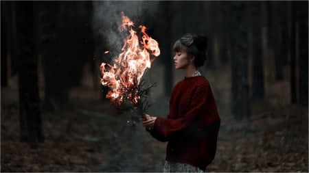 Fire in her Hands - fire, nature, woman, woods