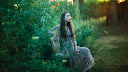 Silent Nature - fields, nature, green, woman