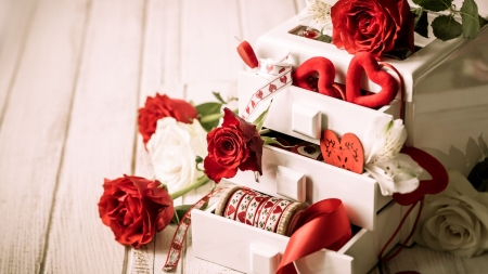 Still life - wardrobe, red roses, hearts, roses, still life