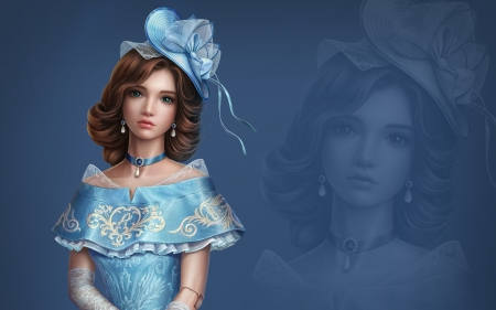 Angelique - frumusete, s, abgames, earrings, superb, hat, pearl, fantasy, girl, ab game, jewel, white, angelique, blue, gorgeous