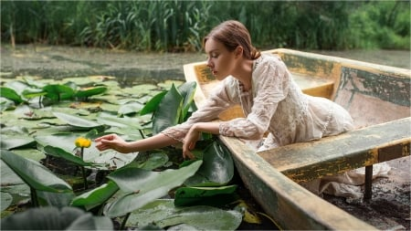 water lilly - flower, boat, water, woman
