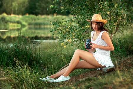 Cowgirl Taking Pictures on her Brownie Camera - dress, model, cowgril, brunette, camera, hat