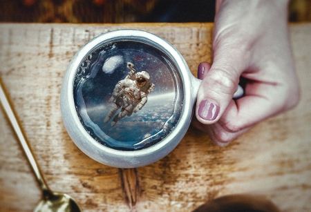 Special cup of coffee - aneth charles, cosmonaut, fantasy, coffee, astronaut, hand, cup, creative