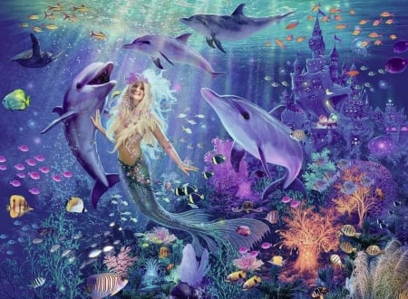 Mermaid - pink, blue, fish, luminos, mermaid, dolphin, vara, fantasy, water, pesti, girl, summer, siren