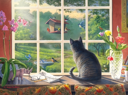 Bird watching - house, james hautman, window, bird, cat, pisici, animal, art, painting, pictura
