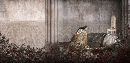 Beauty and the Beast - gabriel pacheco, beauty and the beast, fantasy, girl, painting, belle, princess, art, garden, pictura