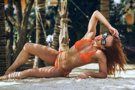 Model Wearing an Orange Bikini - sunglasses, redhead, model, bikini, beach