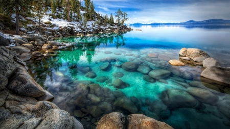 Crisp Clear Water - lake, forest, rocks, clear water, snow, mountains, beautiful, trees