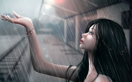 Cry - art, frumusete, fantasy, alissi l, girl, luminos, rain, cry, hand