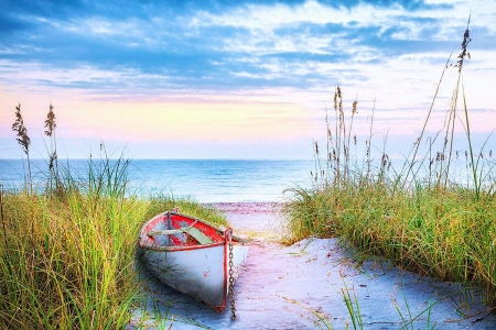Dune Colors - water, boat, sea, beach, clouds, sky