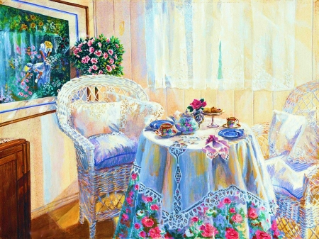 Time for Tea - flowers, chairs, table, porcelain, painting