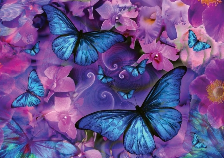 🦋🌸🦋  Blue butterflies on a canvas of pink orchids🦋🌸🦋 - pretty, fantasy, HD, moths, butterflies, abstract, pink, blue