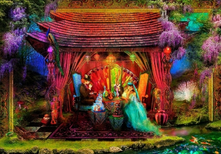 A Mad Tea Party - boy, girl, gazebo, forest, colors, lights