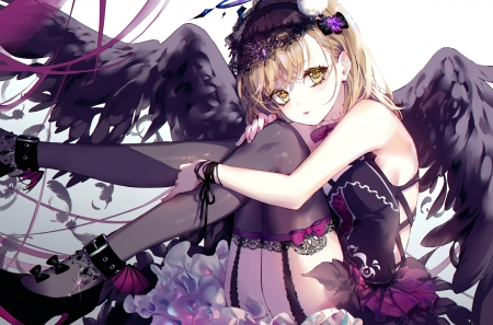 Sweet Devil - Black Dress, Anime, Brown Eyes, Blacks, Beautiful, Dark, Frills, Sweet, Cool, Bow, Girl, Mikoto, Wings, Headwear, Garter Belt, Devil, To aru Kagaku no Railgun, To aru Majutsu no Index, Amazing, Feathers, Short Hair, Brown Hair, Cute, Misaka, Toaru Series, Railgun, Gothic, Ribbons, Stockings