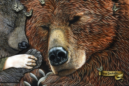 Goldilocks and the three bears - brown, urs, goldilocks, painting, kerry darlington, bear, art, sleep, fantasy, hand, pictura