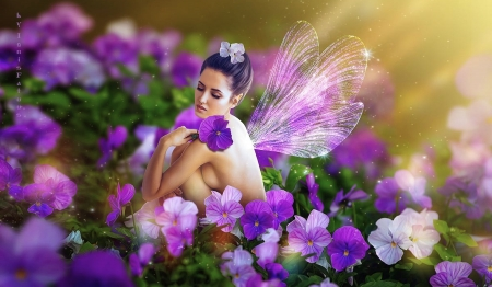 Violet Fairy - purple, flowers, unearthly, softness, lovely, dreamy, Fairy, fantasy, Violets, digital, magical