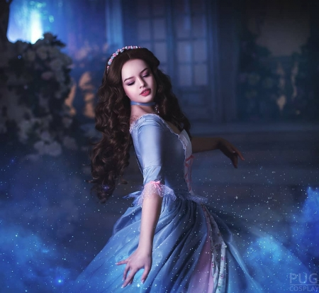 Cinderella - blue, dress, cosplay, model, girl, woman, cinderella