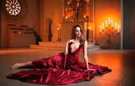 Xenia Kokoreva - girl, Xenia Kokoreva, candle, red, dress, model, woman