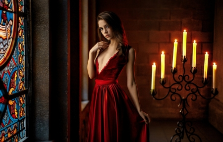 Xenia Kokoreva - Xenia Kokoreva, candle, red, dress, girl, model, woman