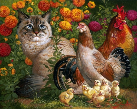 ♥ - cat, chicken, cute, vara, bird, yana movchan, summer, garden, pasari, flower, chicks, pisici