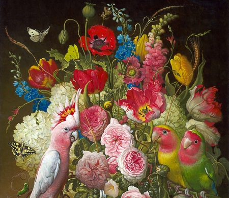 Still life with parrots - yana movchan, painting, flower, parrot, pictura, pink, art, red, still life, green