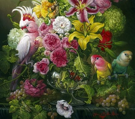 Still life with parrots - flower, pasari, parrot, pink, art, still life, green, bird, yana movchan, painting, pictura