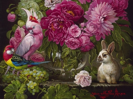 Still life with parrots and bunny - art, rabbit, bujori, parrot, peony, still life, green, bird, yana movchan, pasari, painting, flower, bunny, pictura, pink