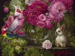 Still life with parrots and bunny