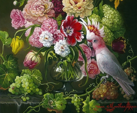 Still life - parrot, pink, art, fruit, grapes, green, bird, yana movchan, flower, painting, pasari, pictura