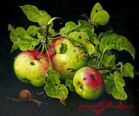 Apples - leaf, apple, red, art, snail, still life, green, mar, yana movchan, painting, pictura