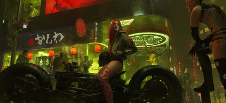 Fantasy girl - cyber, shishuo0808, red, luminos, motorcycle, city, fantasy, girl, green, neon, bike, night