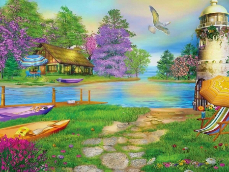 Seagull Bay - cottage, painting, blossoms, flowers, watercolor, lighthouse, artwork, umbrella, water, boats