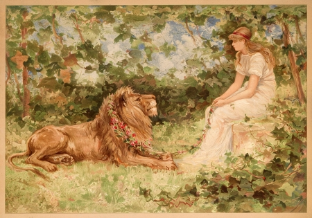 :) - art, girl, leu, painting, pictura, lion, maiden, vintage