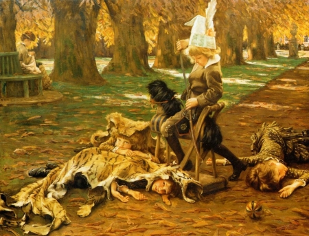 Children palying - art, children, copil, painting, park, pictura, animal, fur, james tissot