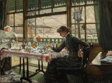 Breakfast - art, girl, painting, breakfast, morning, man, pictura, james tissot, woman