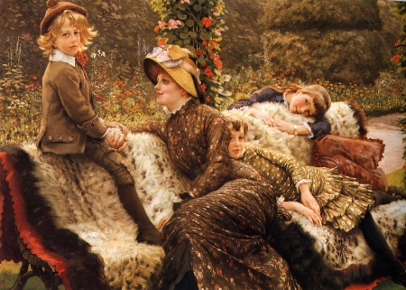 The garden bench - art, mothe, bench, children, woman, boy, girl, painting, garden, copil, james tissot, pictura, fur