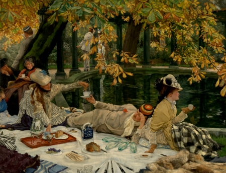 Autumn picnic - art, autumn, toamna, yellow, park, picnic, woman, lake, leaf, water, girl, painting, pictura, james tissot