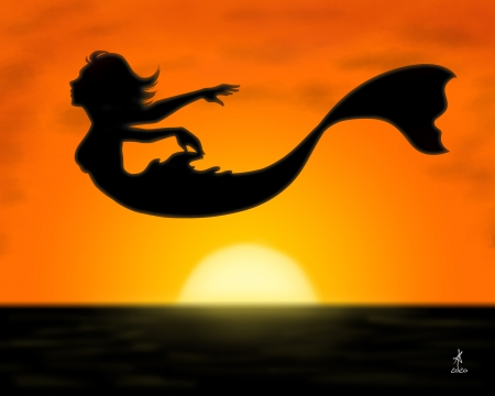 Mermaid - alessia memmola, girl, orange, summer, black, siren, sunset, silhouette, mermaid