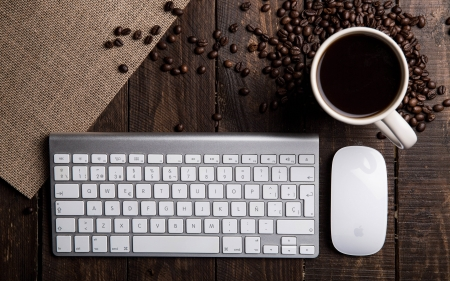 Keyboard, Mouse and Coffee - keyboard, coffee, beans, mouse