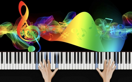 Piano Music - hands, instrument, notes, music, clef, colors, keyboard, piano