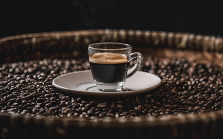 Coffee - glass, cup, coffee, beans, brown