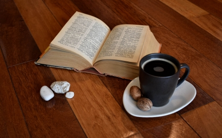 Coffee and Dictionary - coffee, wooden, table, dictionary, cup, book