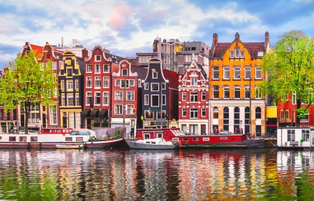 Colorful Amsterdam - colorful, water, Holland, houses, beautiful, Amsterdam, reflection, Netherland, boats