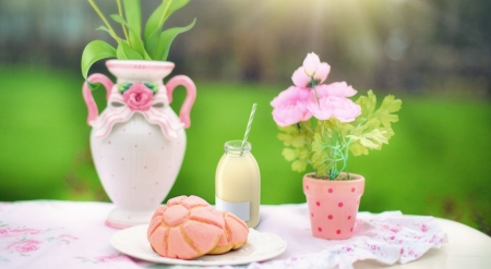 Spring breakfast in the garden - art, still life, photography, food, wallpaper, spring, breakfast, softness