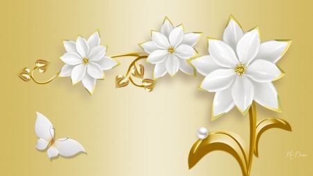 Gold & Pearls - floral, Firefox theme, gold, butterfly, flowers, blossoms, pearls