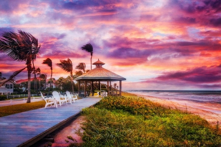 Beach at Dawn - colors, sunset, sky, clouds, storm, gazebo, sea, palms