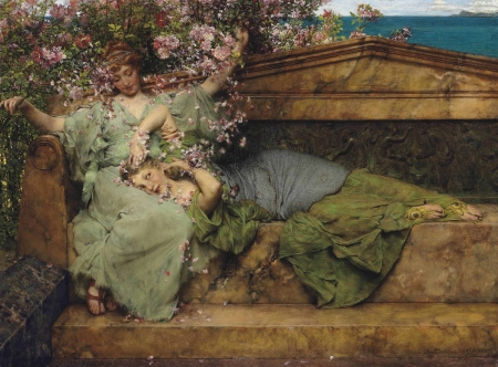 In a rose garden - rose, girl, painting, garden, flower, pink, couple, art, lawrence alma tadema, pictura