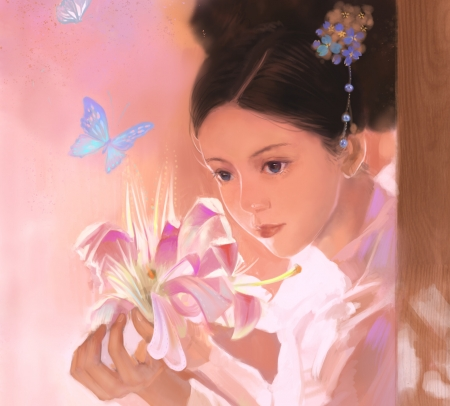 Lily - luminos, flower, lily, flowe, face, pink, feng chang, art, fantasy, hand