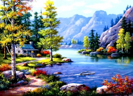 Painting - painting, river, nature, tree