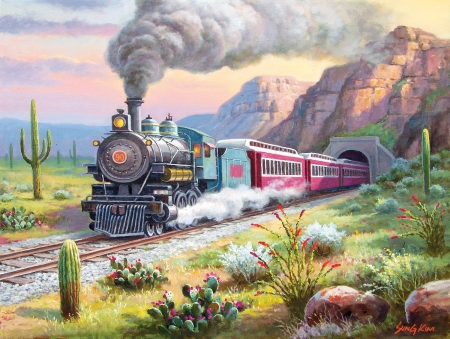 Desert Run - mountains, locomotive, train, painting, steam, railways, artwork